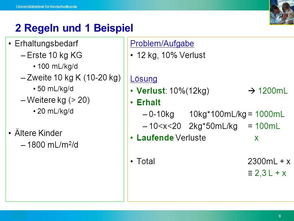 Text9 Universitätsklinik für Kinderheilkunde 2 Regeln und 1 Beispiel Erhaltungsbedarf –Erste 10 kg KG 100 mL/kg/d –Zweite 10 kg K (10-20 kg) 50 mL/kg/