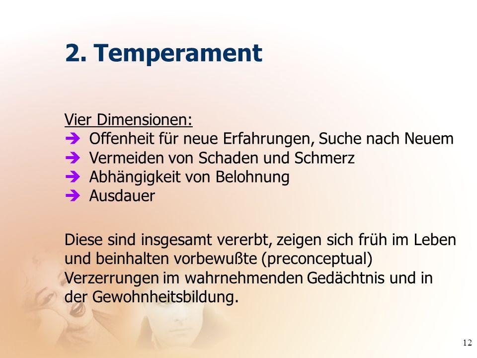 12 Vier Dimensionen: Offenheit für neue Erfahrungen, Suche nach Neuem Vermeiden von Schaden und Schmerz Abhängigkeit von Belohnung Ausdauer 2. Tempera