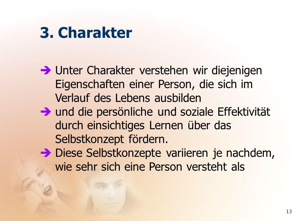 13 Unter Charakter verstehen wir diejenigen Eigenschaften einer Person, die sich im Verlauf des Lebens ausbilden und die persönliche und soziale Effek