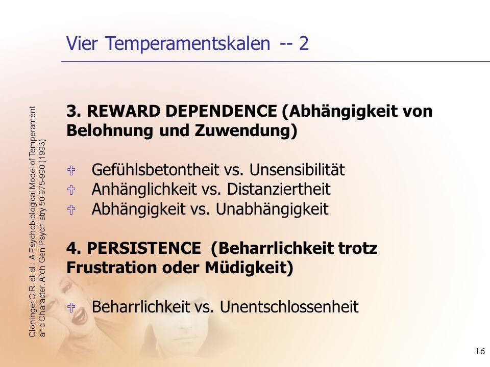 16 3. REWARD DEPENDENCE (Abhängigkeit von Belohnung und Zuwendung) U Gefühlsbetontheit vs. Unsensibilität U Anhänglichkeit vs. Distanziertheit U Abhän
