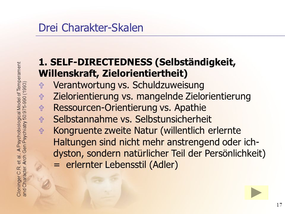 17 1. SELF-DIRECTEDNESS (Selbständigkeit, Willenskraft, Zielorientiertheit) U Verantwortung vs. Schuldzuweisung U Zielorientierung vs. mangelnde Zielo