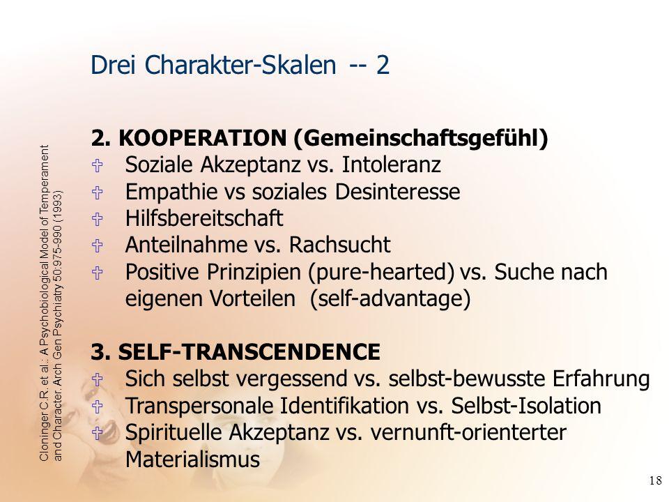 18 2. KOOPERATION (Gemeinschaftsgefühl) U Soziale Akzeptanz vs. Intoleranz U Empathie vs soziales Desinteresse U Hilfsbereitschaft U Anteilnahme vs. R