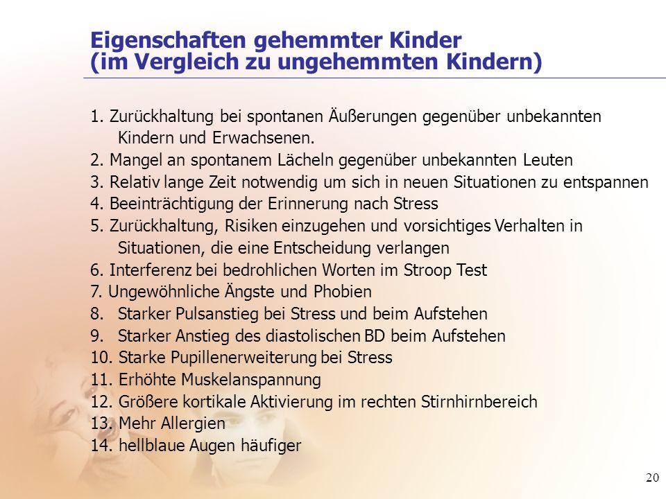 20 1. Zurückhaltung bei spontanen Äußerungen gegenüber unbekannten Kindern und Erwachsenen. 2. Mangel an spontanem Lächeln gegenüber unbekannten Leute