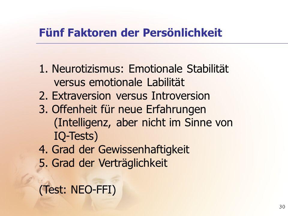 30 1. Neurotizismus: Emotionale Stabilität versus emotionale Labilität 2. Extraversion versus Introversion 3. Offenheit für neue Erfahrungen (Intellig