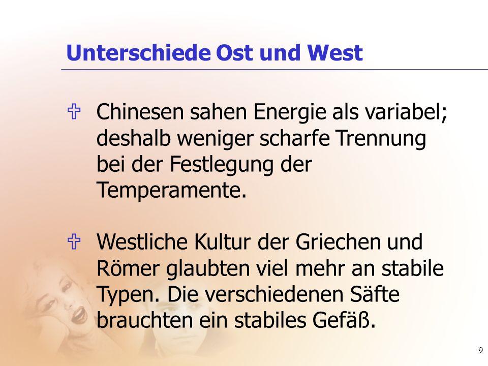 9 Unterschiede Ost und West UChinesen sahen Energie als variabel; deshalb weniger scharfe Trennung bei der Festlegung der Temperamente. UWestliche Kul