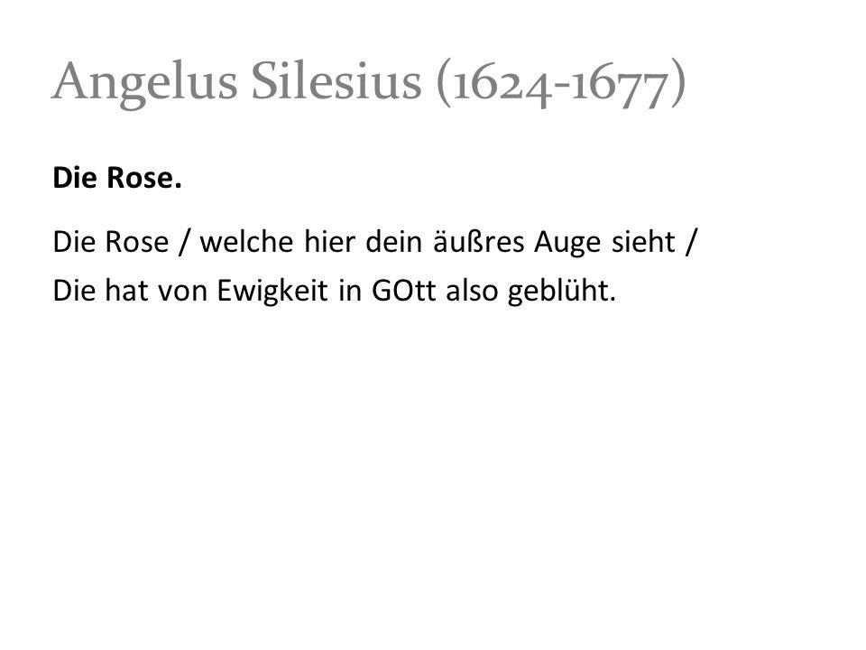 Angelus Silesius (1624-1677) Die Rose. Die Rose / welche hier dein äußres Auge sieht / Die hat von Ewigkeit in GOtt also geblüht.