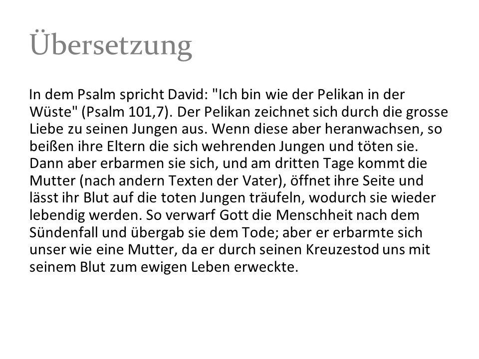 Übersetzung In dem Psalm spricht David:
