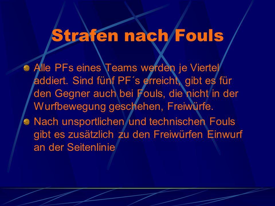 Strafen nach Fouls Alle PFs eines Teams werden je Viertel addiert. Sind fünf PF´s erreicht, gibt es für den Gegner auch bei Fouls, die nicht in der Wu