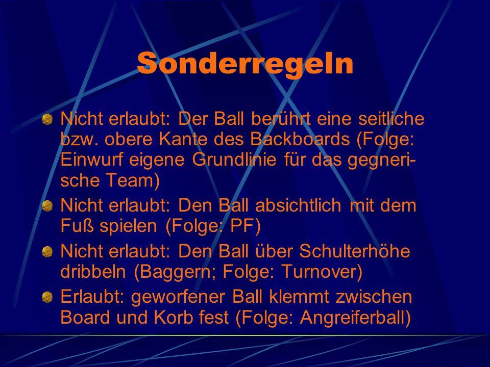 Sonderregeln Nicht erlaubt: Der Ball berührt eine seitliche bzw. obere Kante des Backboards (Folge: Einwurf eigene Grundlinie für das gegneri- sche Te