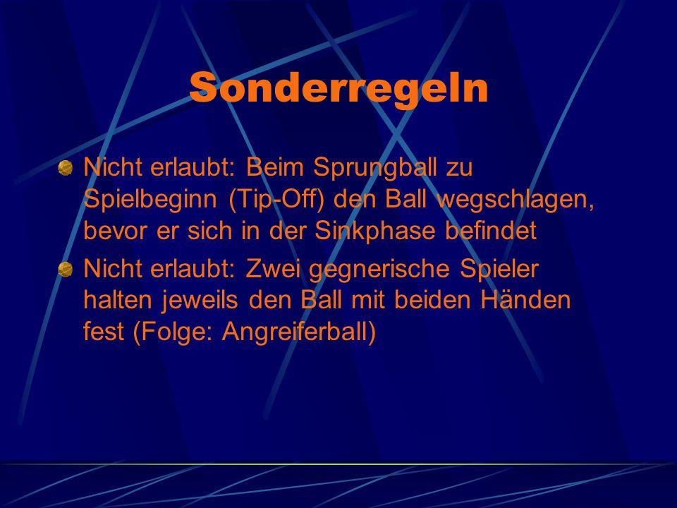 Sonderregeln Nicht erlaubt: Beim Sprungball zu Spielbeginn (Tip-Off) den Ball wegschlagen, bevor er sich in der Sinkphase befindet Nicht erlaubt: Zwei gegnerische Spieler halten jeweils den Ball mit beiden Händen fest (Folge: Angreiferball)