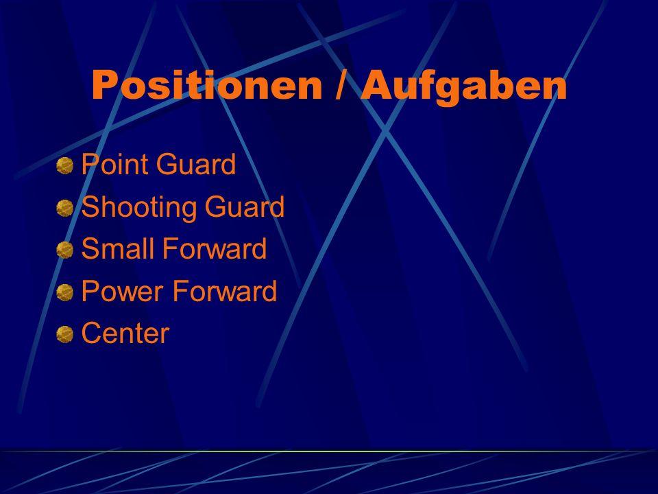 Positionen / Aufgaben Point Guard Shooting Guard Small Forward Power Forward Center