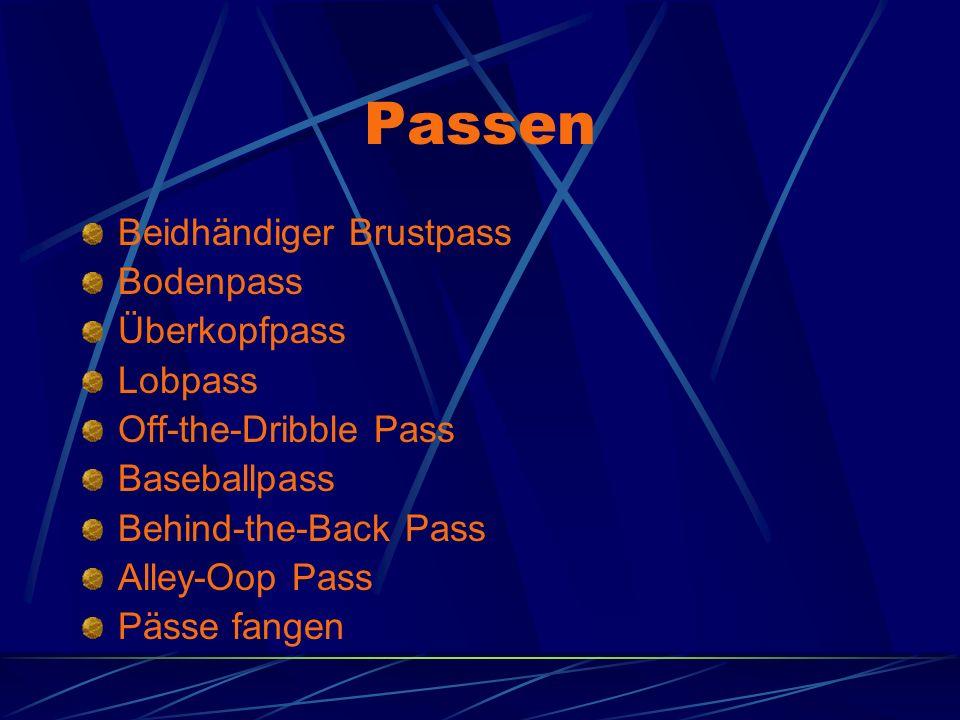 Passen Beidhändiger Brustpass Bodenpass Überkopfpass Lobpass Off-the-Dribble Pass Baseballpass Behind-the-Back Pass Alley-Oop Pass Pässe fangen