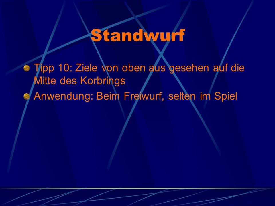 Standwurf Tipp 10: Ziele von oben aus gesehen auf die Mitte des Korbrings Anwendung: Beim Freiwurf, selten im Spiel