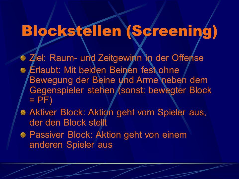 Blockstellen (Screening) Ziel: Raum- und Zeitgewinn in der Offense Erlaubt: Mit beiden Beinen fest ohne Bewegung der Beine und Arme neben dem Gegenspieler stehen (sonst: bewegter Block = PF) Aktiver Block: Aktion geht vom Spieler aus, der den Block stellt Passiver Block: Aktion geht von einem anderen Spieler aus