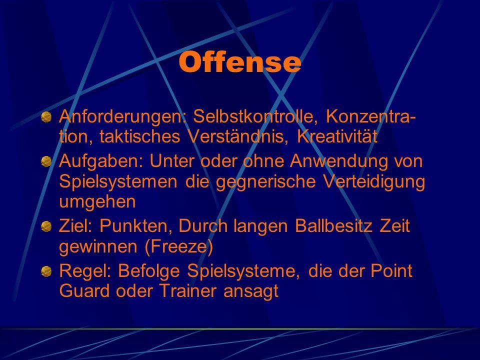 Offense Anforderungen: Selbstkontrolle, Konzentra- tion, taktisches Verständnis, Kreativität Aufgaben: Unter oder ohne Anwendung von Spielsystemen die
