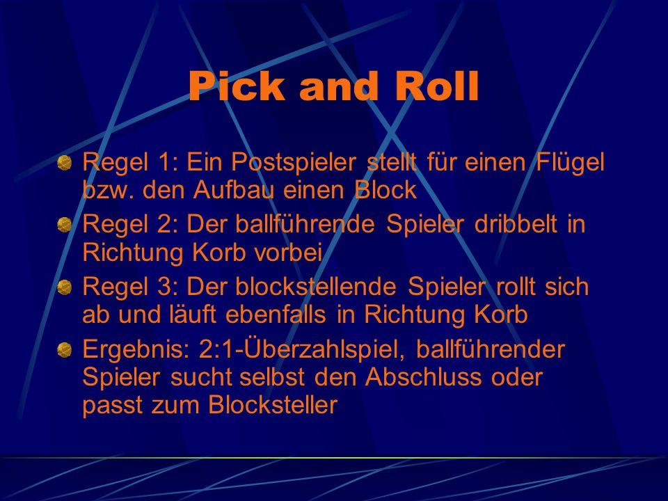 Pick and Roll Regel 1: Ein Postspieler stellt für einen Flügel bzw. den Aufbau einen Block Regel 2: Der ballführende Spieler dribbelt in Richtung Korb