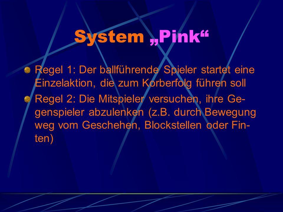 System Pink Regel 1: Der ballführende Spieler startet eine Einzelaktion, die zum Korberfolg führen soll Regel 2: Die Mitspieler versuchen, ihre Ge- genspieler abzulenken (z.B.
