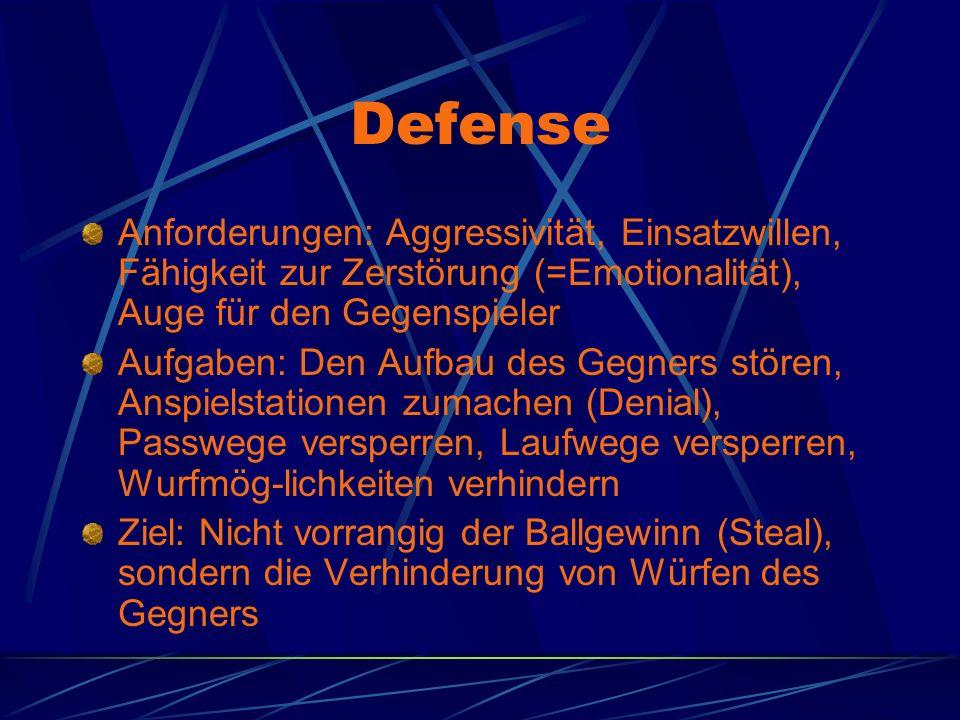 Defense Anforderungen: Aggressivität, Einsatzwillen, Fähigkeit zur Zerstörung (=Emotionalität), Auge für den Gegenspieler Aufgaben: Den Aufbau des Geg