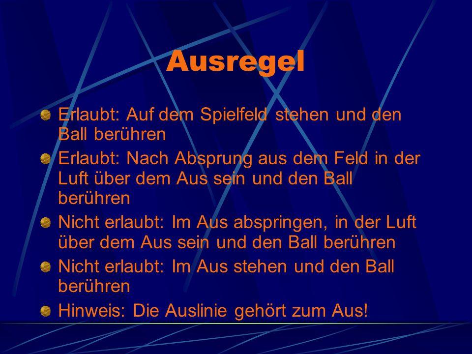 Ausregel Erlaubt: Auf dem Spielfeld stehen und den Ball berühren Erlaubt: Nach Absprung aus dem Feld in der Luft über dem Aus sein und den Ball berühr