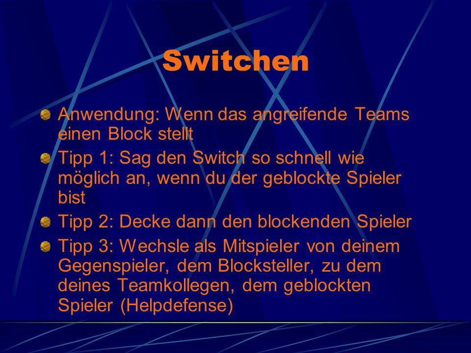 Switchen Anwendung: Wenn das angreifende Teams einen Block stellt Tipp 1: Sag den Switch so schnell wie möglich an, wenn du der geblockte Spieler bist Tipp 2: Decke dann den blockenden Spieler Tipp 3: Wechsle als Mitspieler von deinem Gegenspieler, dem Blocksteller, zu dem deines Teamkollegen, dem geblockten Spieler (Helpdefense)