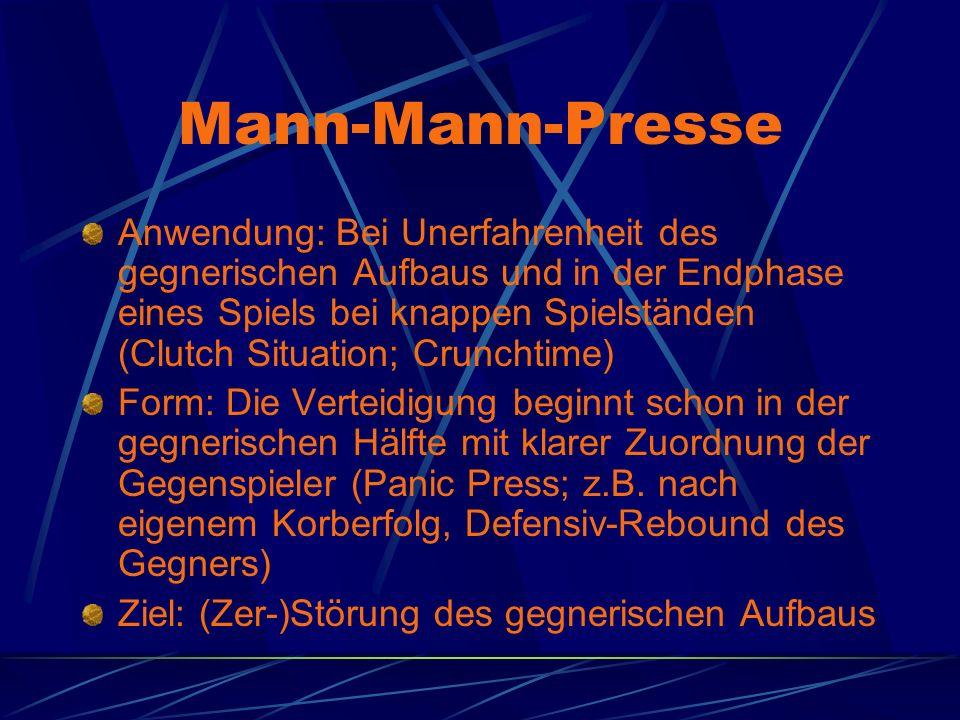 Mann-Mann-Presse Anwendung: Bei Unerfahrenheit des gegnerischen Aufbaus und in der Endphase eines Spiels bei knappen Spielständen (Clutch Situation; C