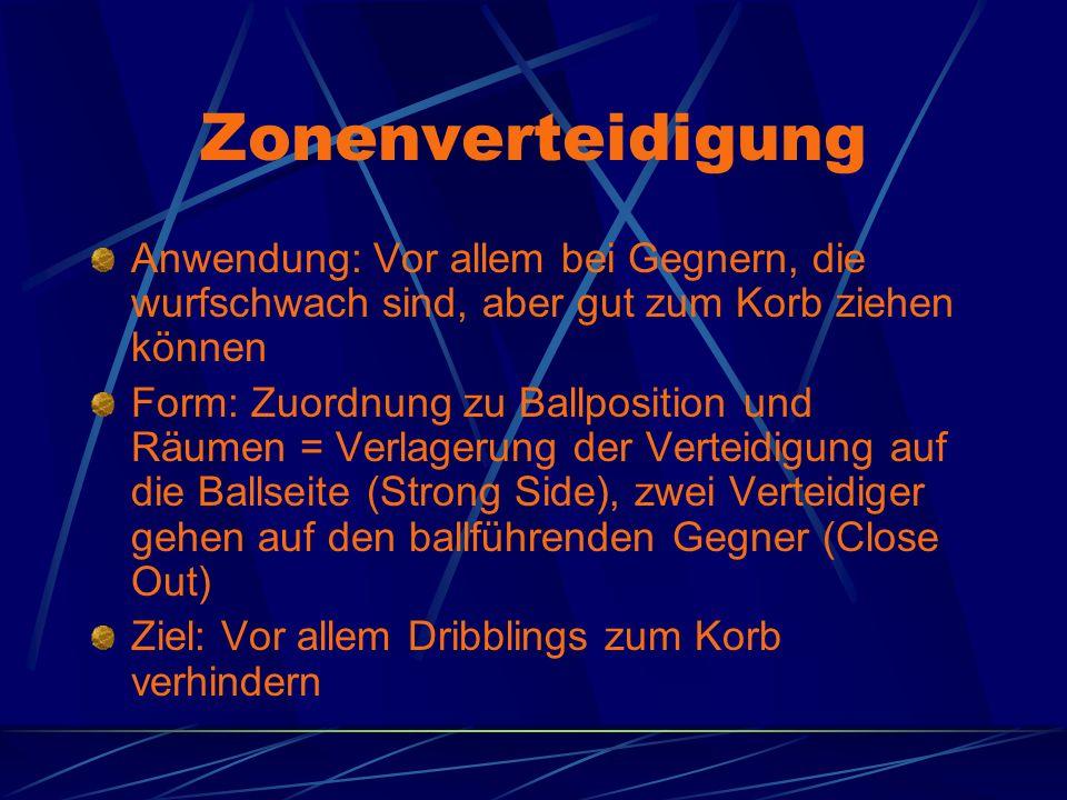 Zonenverteidigung Anwendung: Vor allem bei Gegnern, die wurfschwach sind, aber gut zum Korb ziehen können Form: Zuordnung zu Ballposition und Räumen =
