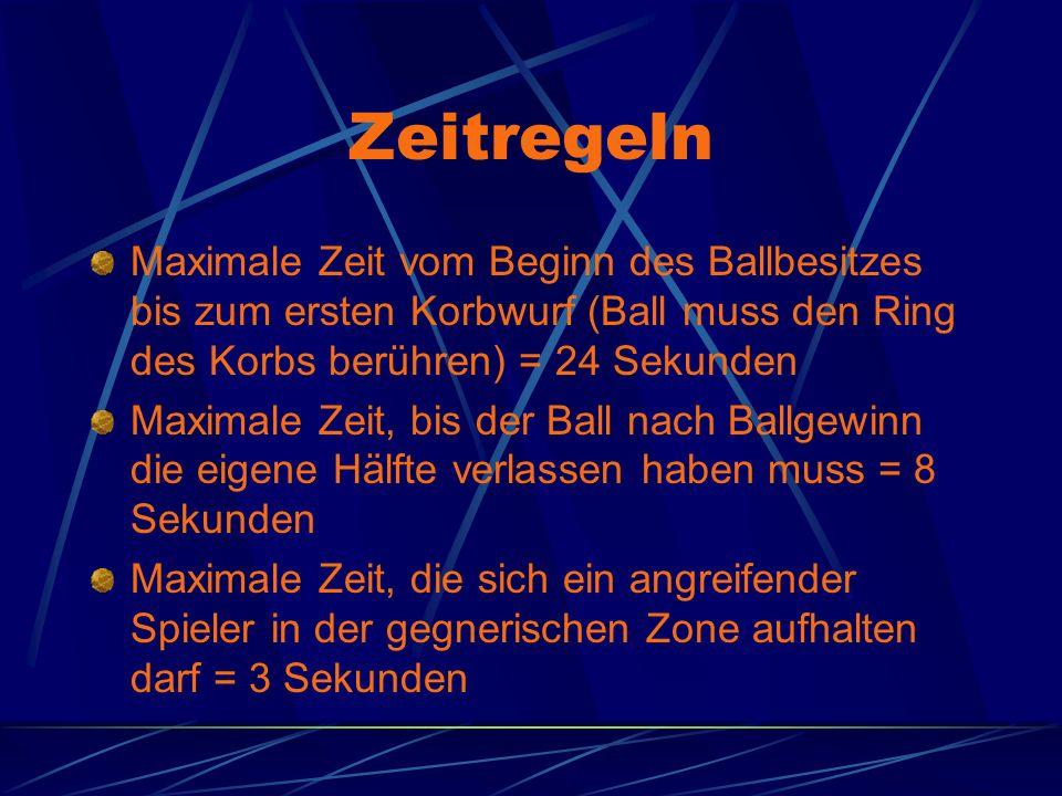 Zeitregeln Maximale Zeit vom Beginn des Ballbesitzes bis zum ersten Korbwurf (Ball muss den Ring des Korbs berühren) = 24 Sekunden Maximale Zeit, bis