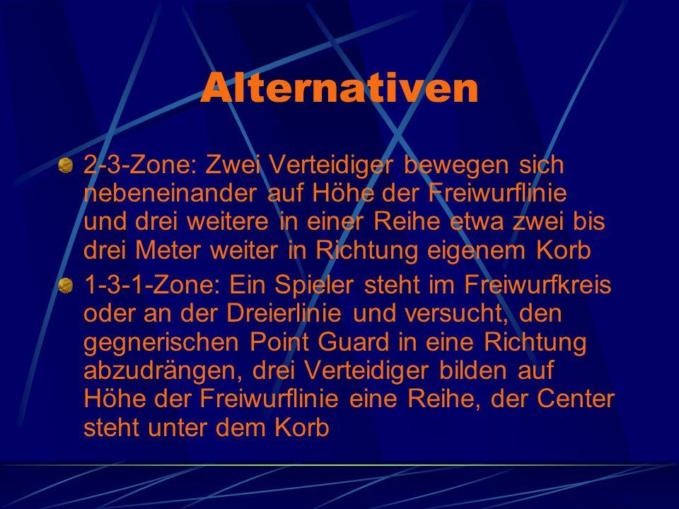 Alternativen 2-3-Zone: Zwei Verteidiger bewegen sich nebeneinander auf Höhe der Freiwurflinie und drei weitere in einer Reihe etwa zwei bis drei Meter
