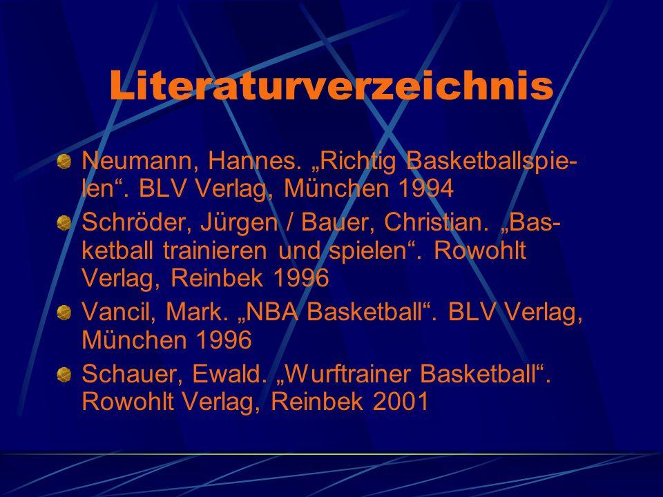 Literaturverzeichnis Neumann, Hannes. Richtig Basketballspie- len. BLV Verlag, München 1994 Schröder, Jürgen / Bauer, Christian. Bas- ketball trainier