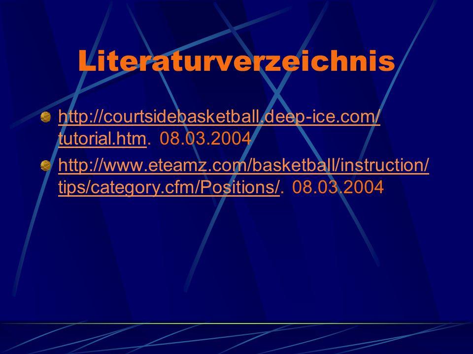 Literaturverzeichnis http://courtsidebasketball.deep-ice.com/ tutorial.htmhttp://courtsidebasketball.deep-ice.com/ tutorial.htm. 08.03.2004 http://www