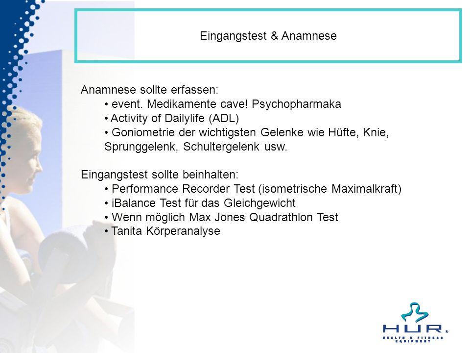 Eingangstest & Anamnese Anamnese sollte erfassen: event. Medikamente cave! Psychopharmaka Activity of Dailylife (ADL) Goniometrie der wichtigsten Gele
