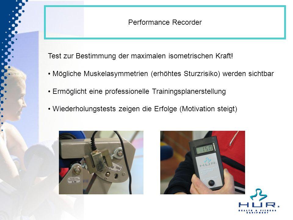 Performance Recorder Test zur Bestimmung der maximalen isometrischen Kraft! Mögliche Muskelasymmetrien (erhöhtes Sturzrisiko) werden sichtbar Ermöglic