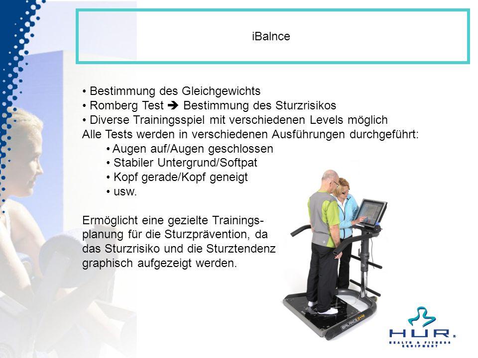 iBalnce Bestimmung des Gleichgewichts Romberg Test Bestimmung des Sturzrisikos Diverse Trainingsspiel mit verschiedenen Levels möglich Alle Tests werd