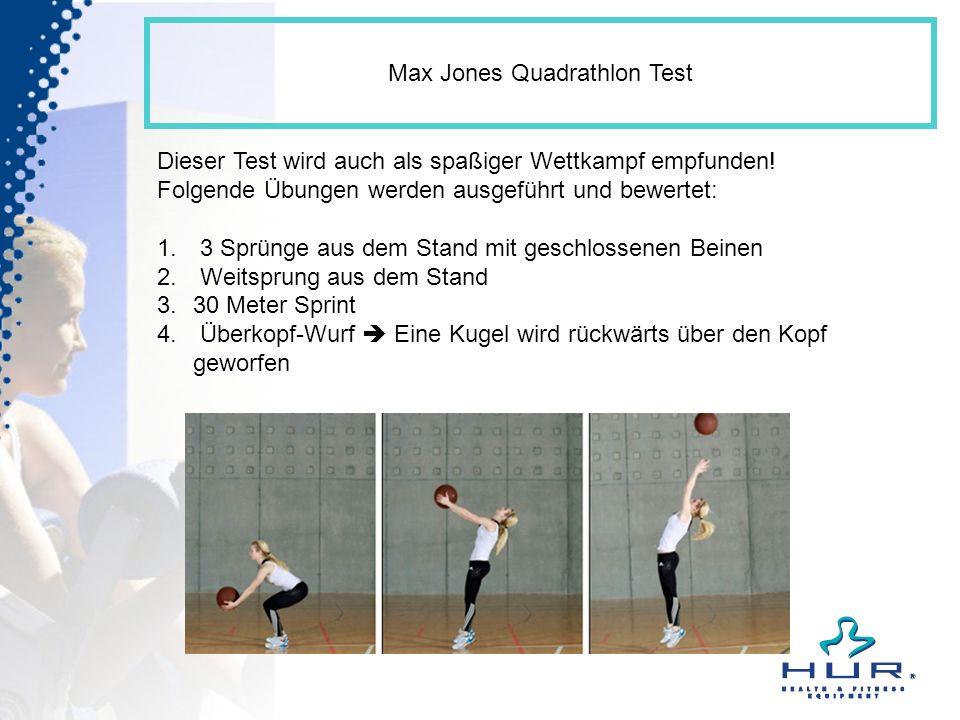 Max Jones Quadrathlon Test Dieser Test wird auch als spaßiger Wettkampf empfunden! Folgende Übungen werden ausgeführt und bewertet: 1. 3 Sprünge aus d