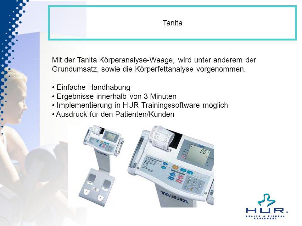 Tanita Mit der Tanita Körperanalyse-Waage, wird unter anderem der Grundumsatz, sowie die Körperfettanalyse vorgenommen. Einfache Handhabung Ergebnisse
