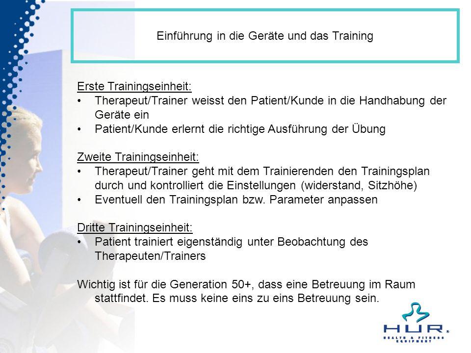 Einführung in die Geräte und das Training Erste Trainingseinheit: Therapeut/Trainer weisst den Patient/Kunde in die Handhabung der Geräte ein Patient/