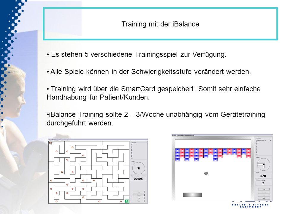 Training mit der iBalance Es stehen 5 verschiedene Trainingsspiel zur Verfügung. Alle Spiele können in der Schwierigkeitsstufe verändert werden. Train