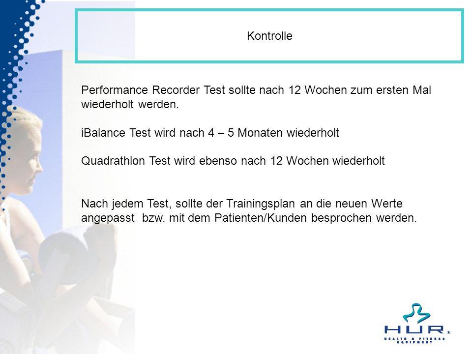 Kontrolle Performance Recorder Test sollte nach 12 Wochen zum ersten Mal wiederholt werden. iBalance Test wird nach 4 – 5 Monaten wiederholt Quadrathl