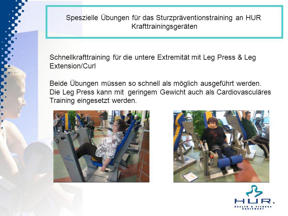 Speszielle Übungen für das Sturzpräventionstraining an HUR Krafttrainingsgeräten Schnellkrafttraining für die untere Extremität mit Leg Press & Leg Ex