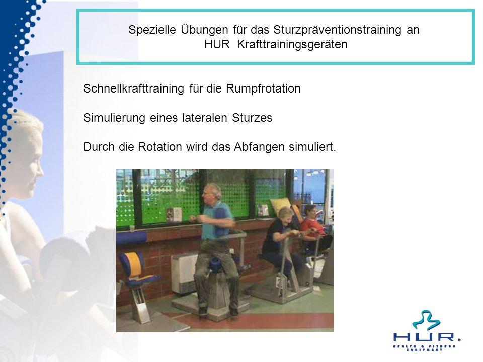 Spezielle Übungen für das Sturzpräventionstraining an HUR Krafttrainingsgeräten Schnellkrafttraining für die Rumpfrotation Simulierung eines lateralen