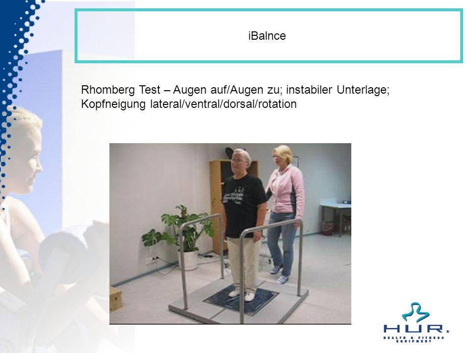 iBalnce Rhomberg Test – Augen auf/Augen zu; instabiler Unterlage; Kopfneigung lateral/ventral/dorsal/rotation