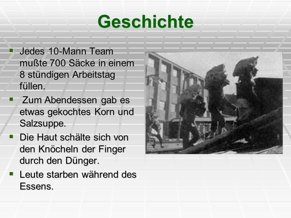 Geschichte Jedes 10-Mann Team mußte 700 Säcke in einem 8 stündigen Arbeitstag füllen. Jedes 10-Mann Team mußte 700 Säcke in einem 8 stündigen Arbeitst