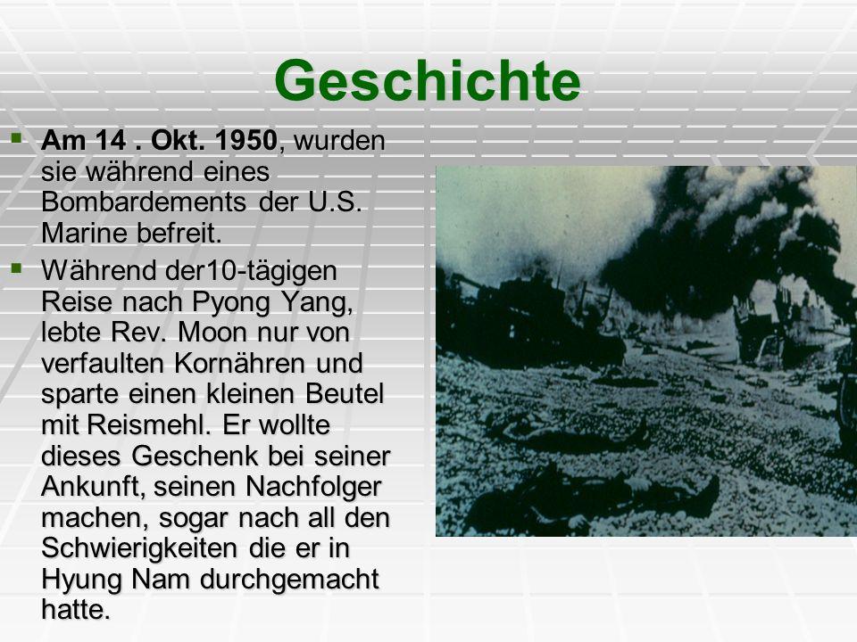 Geschichte Am 14. Okt. 1950, wurden sie während eines Bombardements der U.S. Marine befreit. Am 14. Okt. 1950, wurden sie während eines Bombardements