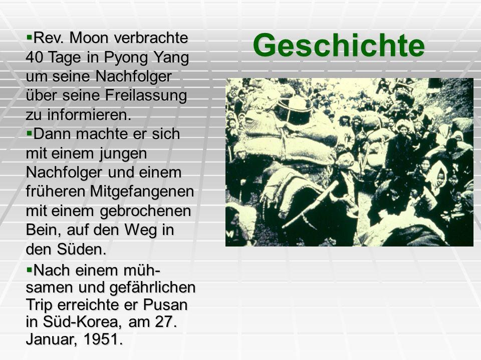 Rev. Moon verbrachte 40 Tage in Pyong Yang um seine Nachfolger über seine Freilassung zu informieren. Rev. Moon verbrachte 40 Tage in Pyong Yang um se