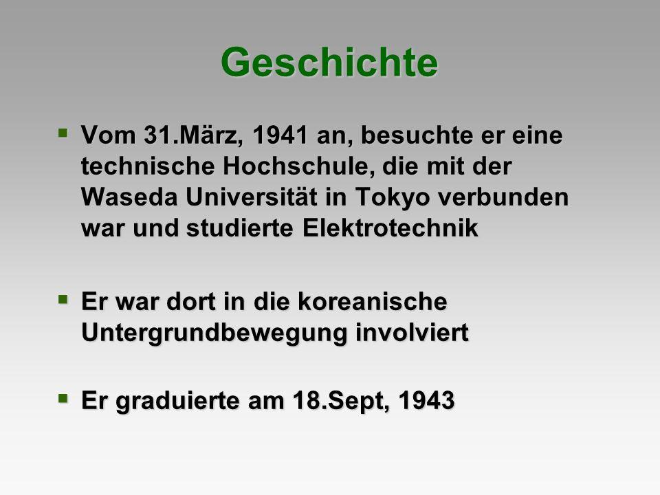 Vom 31.März, 1941 an, besuchte er eine technische Hochschule, die mit der Waseda Universität in Tokyo verbunden war und studierte Elektrotechnik Vom 3