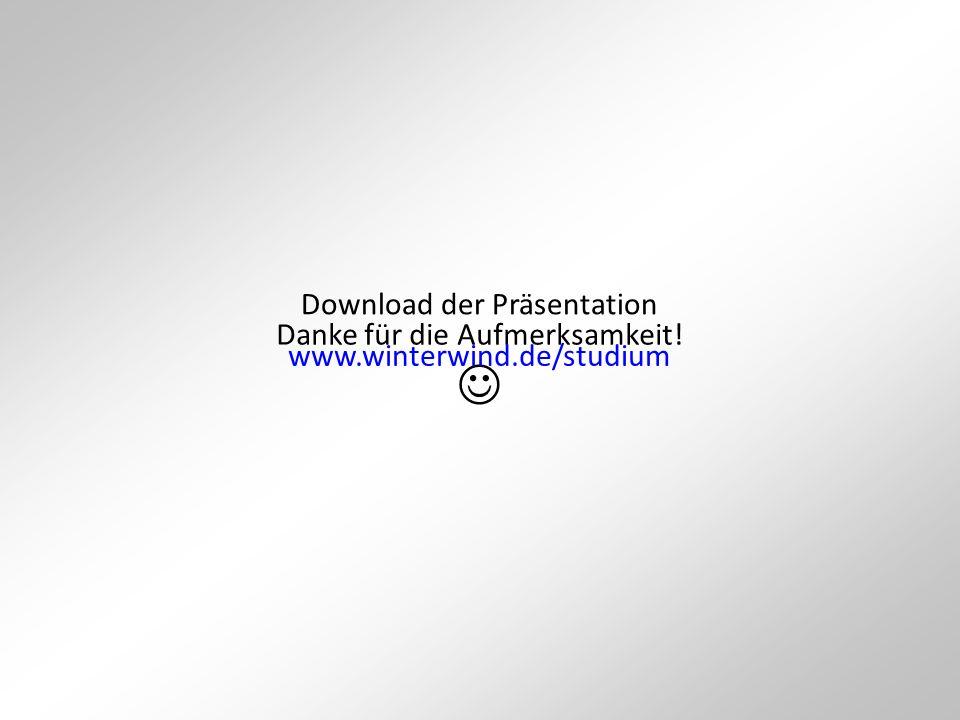 Danke für die Aufmerksamkeit! Download der Präsentation www.winterwind.de/studium