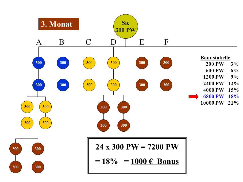 Sie 300 PW 300 3. Monat 300 ABCD EF Bonustabelle 200 PW 3% 600 PW 6% 1200 PW 9% 2400 PW 12% 4000 PW 15% 6800 PW 18% 10000 PW 21% 24 x 300 PW = 7200 PW