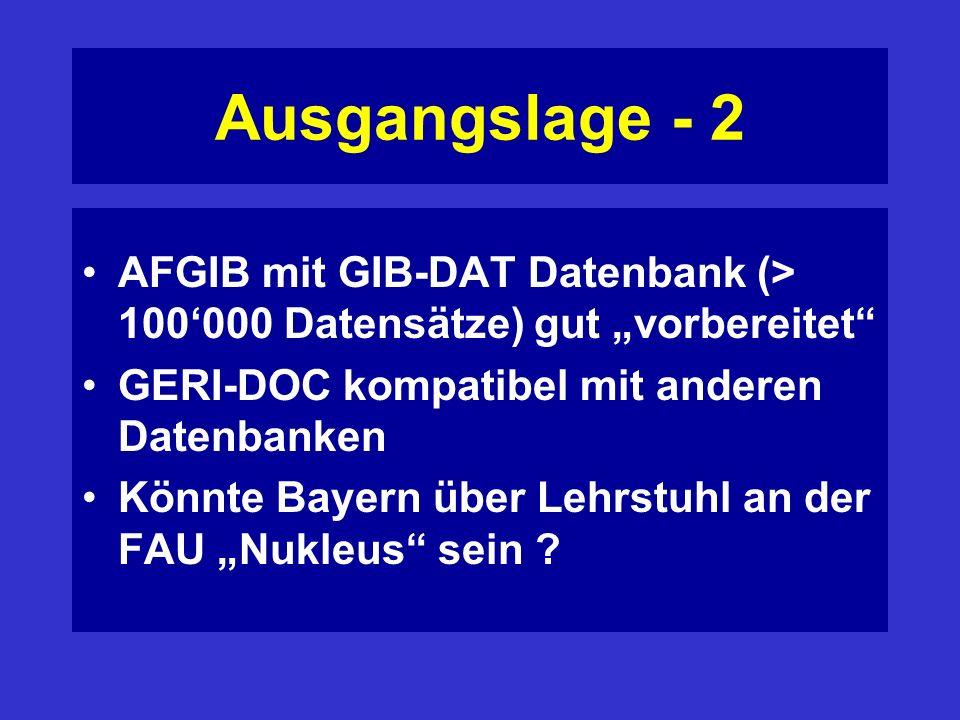 Ausgangslage - 2 AFGIB mit GIB-DAT Datenbank (> 100000 Datensätze) gut vorbereitet GERI-DOC kompatibel mit anderen Datenbanken Könnte Bayern über Lehrstuhl an der FAU Nukleus sein ?