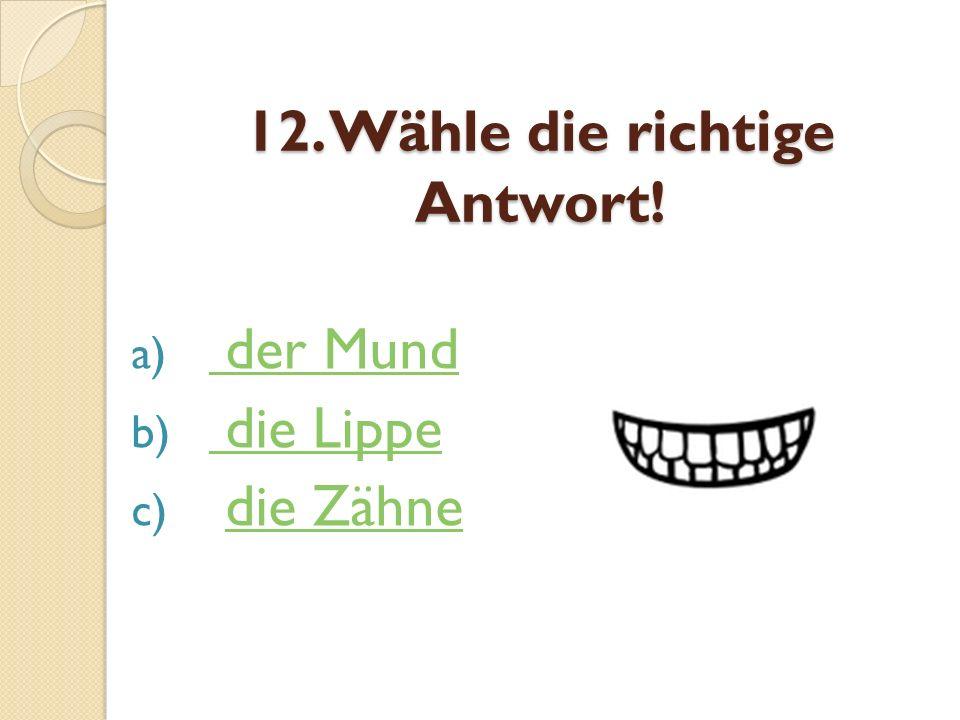 12. Wähle die richtige Antwort! a) der Mund der Mund b) die Lippe die Lippe c) die Zähnedie Zähne