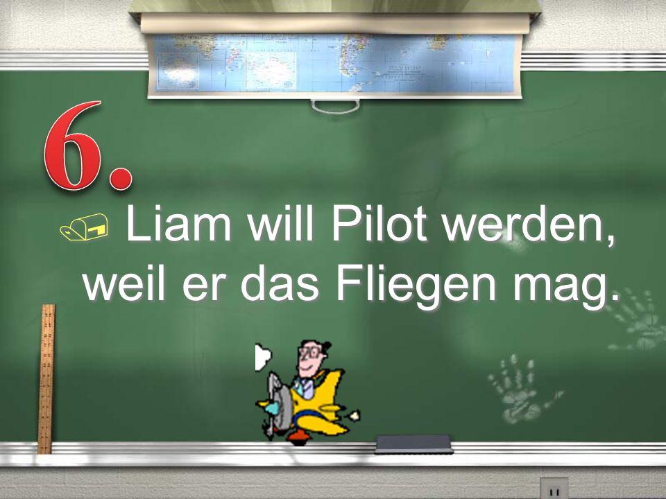 / Liam will Pilot werden, weil er das Fliegen mag.